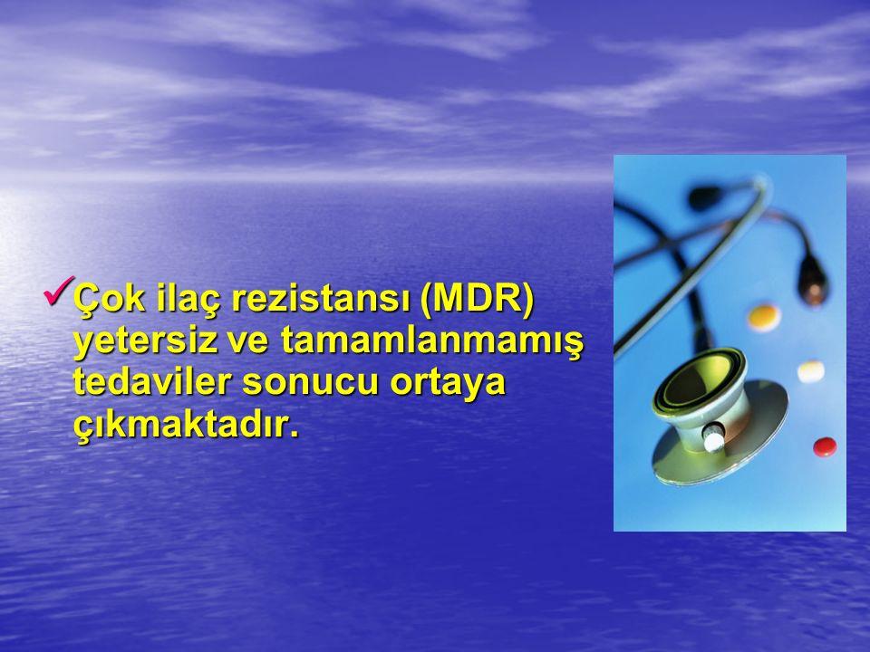 Çok ilaç rezistansı (MDR) yetersiz ve tamamlanmamış tedaviler sonucu ortaya çıkmaktadır.