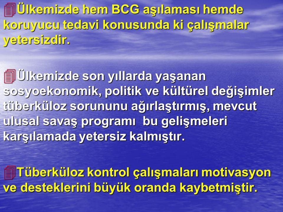 Ülkemizde hem BCG aşılaması hemde koruyucu tedavi konusunda ki çalışmalar yetersizdir.