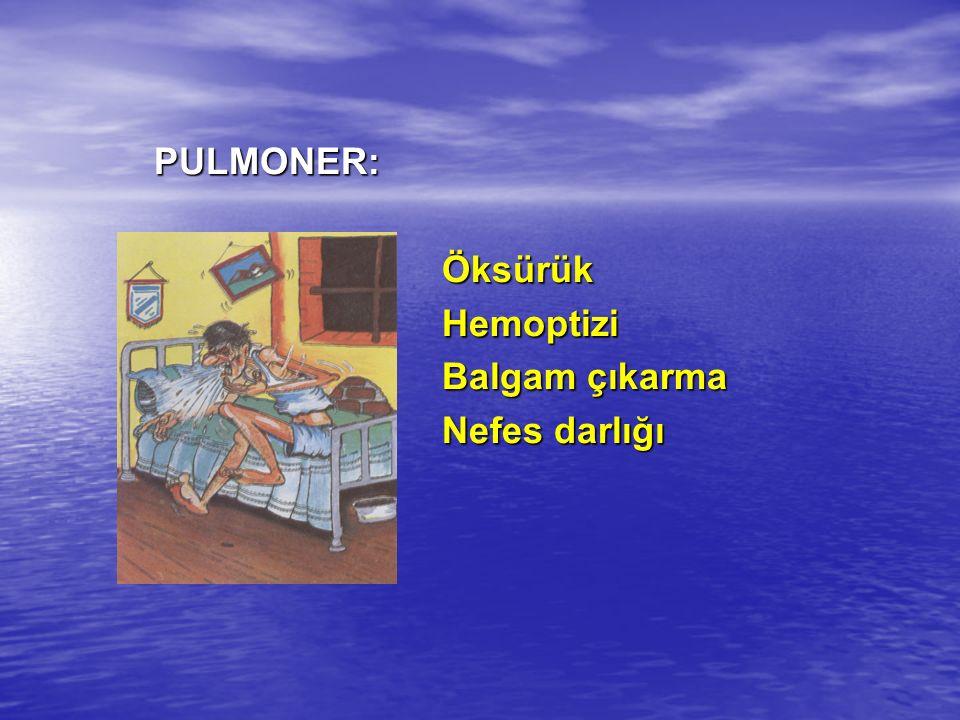 PULMONER: Öksürük Hemoptizi Balgam çıkarma Nefes darlığı