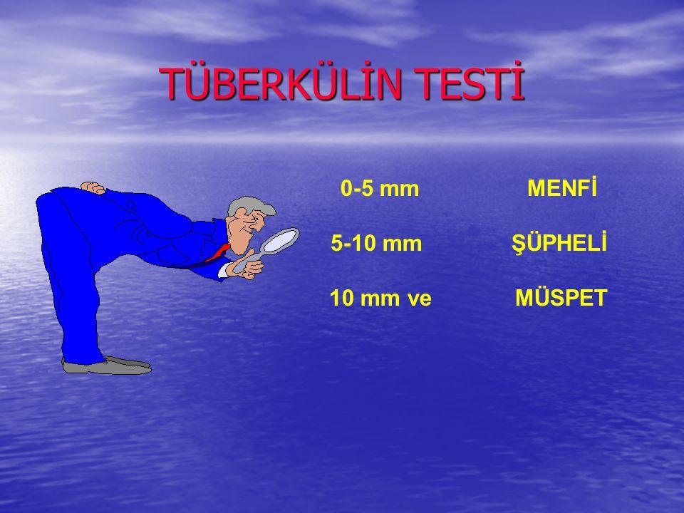 TÜBERKÜLİN TESTİ 0-5 mm MENFİ. 5-10 mm ŞÜPHELİ.