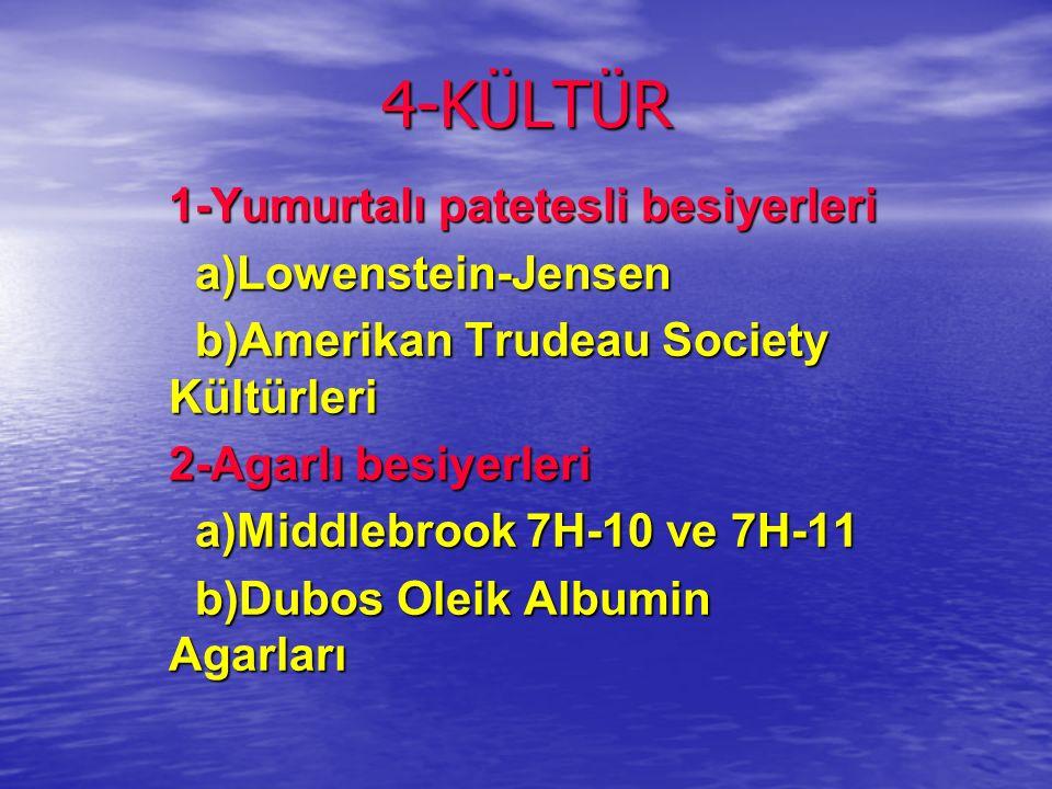 4-KÜLTÜR 1-Yumurtalı patetesli besiyerleri a)Lowenstein-Jensen