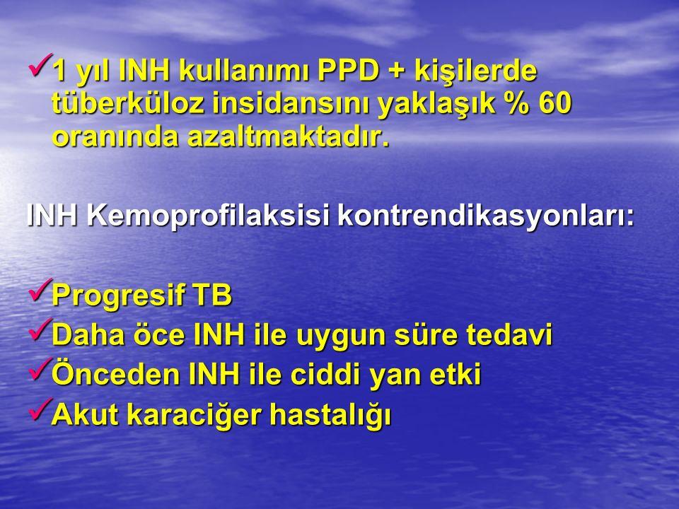 1 yıl INH kullanımı PPD + kişilerde tüberküloz insidansını yaklaşık % 60 oranında azaltmaktadır.