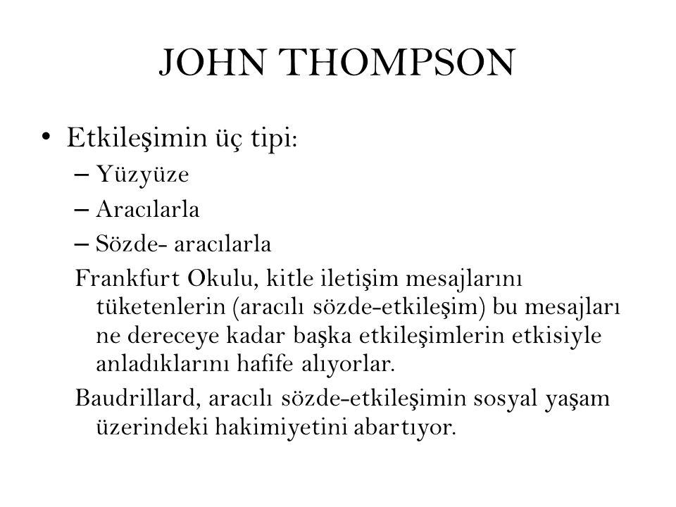 JOHN THOMPSON Etkileşimin üç tipi: Yüzyüze Aracılarla