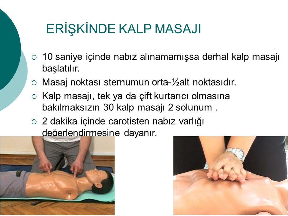 ERİŞKİNDE KALP MASAJI 10 saniye içinde nabız alınamamışsa derhal kalp masajı başlatılır. Masaj noktası sternumun orta-½alt noktasıdır.