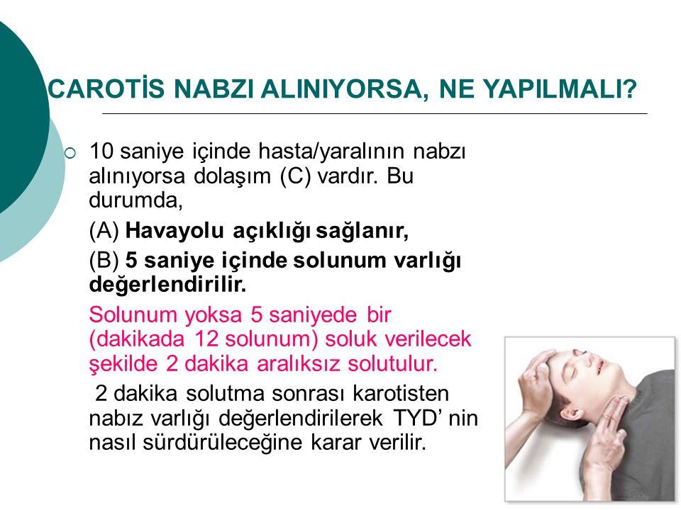 CAROTİS NABZI ALINIYORSA, NE YAPILMALI