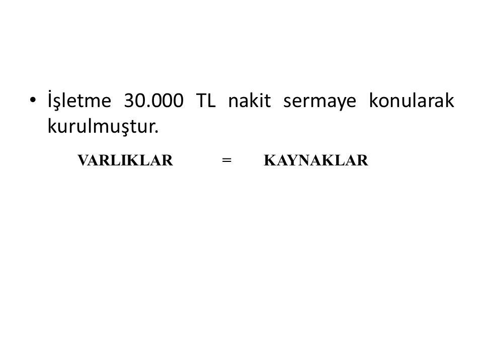 İşletme 30.000 TL nakit sermaye konularak kurulmuştur.