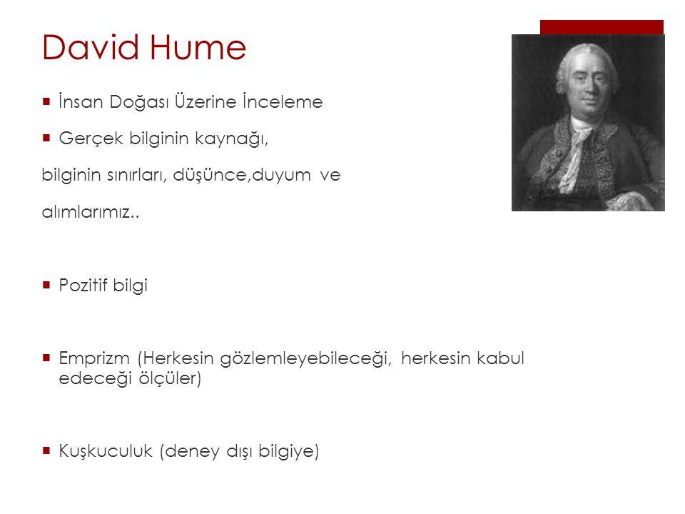 David Hume İnsan Doğası Üzerine İnceleme Gerçek bilginin kaynağı,