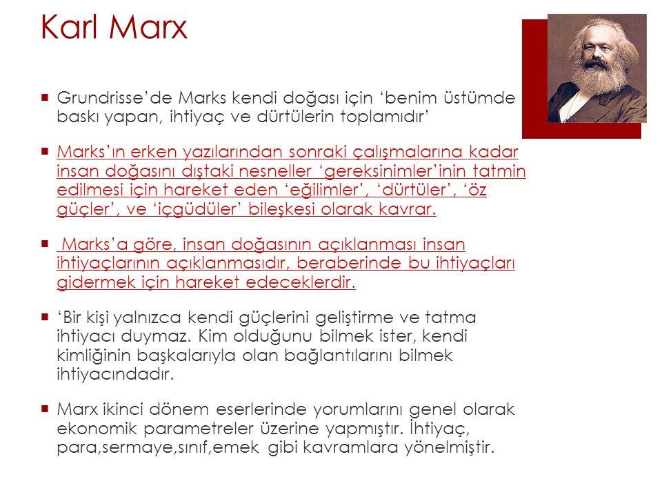 Karl Marx Grundrisse'de Marks kendi doğası için 'benim üstümde baskı yapan, ihtiyaç ve dürtülerin toplamıdır'