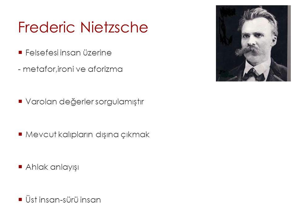 Frederic Nietzsche Felsefesi insan üzerine - metafor,ironi ve aforizma