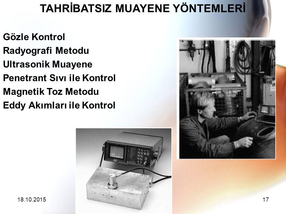 TAHRİBATSIZ MUAYENE YÖNTEMLERİ Gözle Kontrol Radyografi Metodu