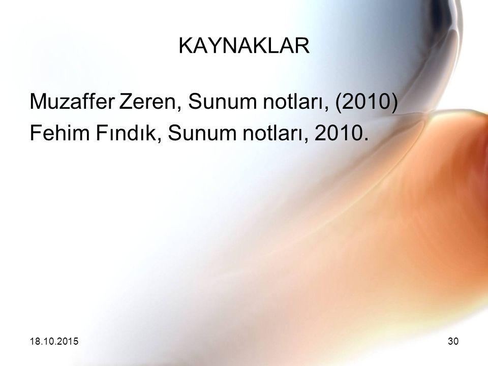 Muzaffer Zeren, Sunum notları, (2010)