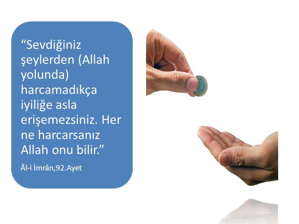 Sevdiğiniz şeylerden (Allah yolunda) harcamadıkça iyiliğe asla erişemezsiniz. Her ne harcarsanız Allah onu bilir.
