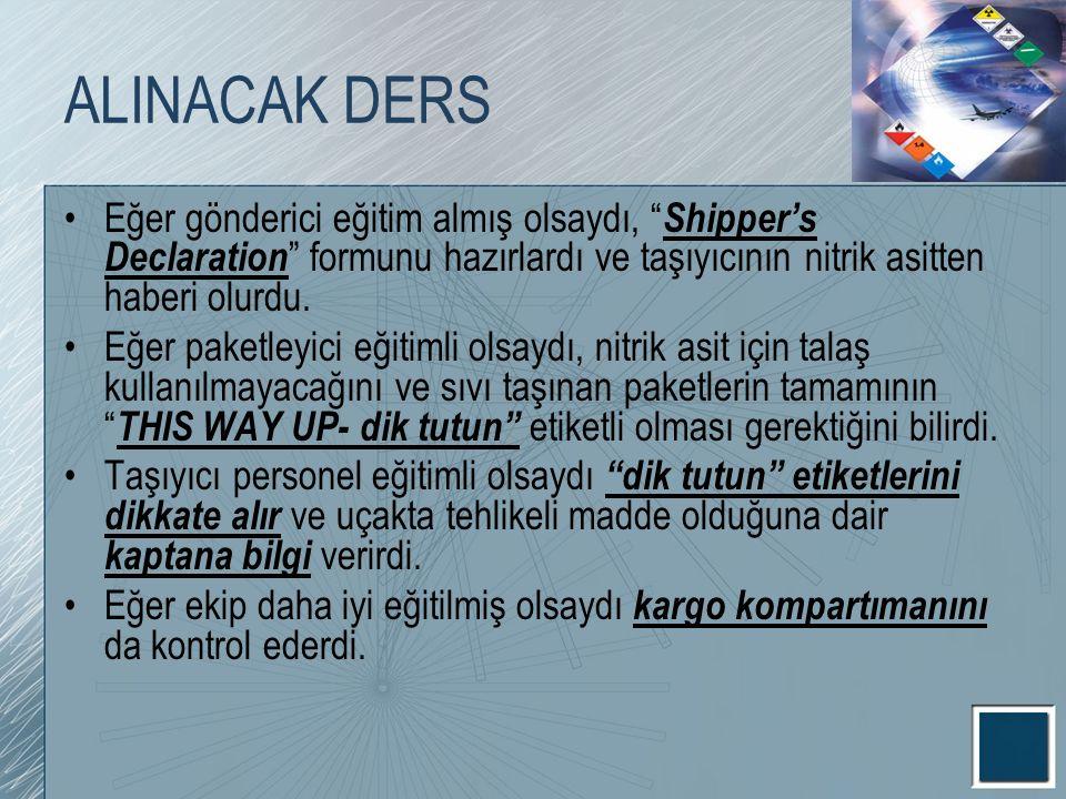 ALINACAK DERS Eğer gönderici eğitim almış olsaydı, Shipper's Declaration formunu hazırlardı ve taşıyıcının nitrik asitten haberi olurdu.