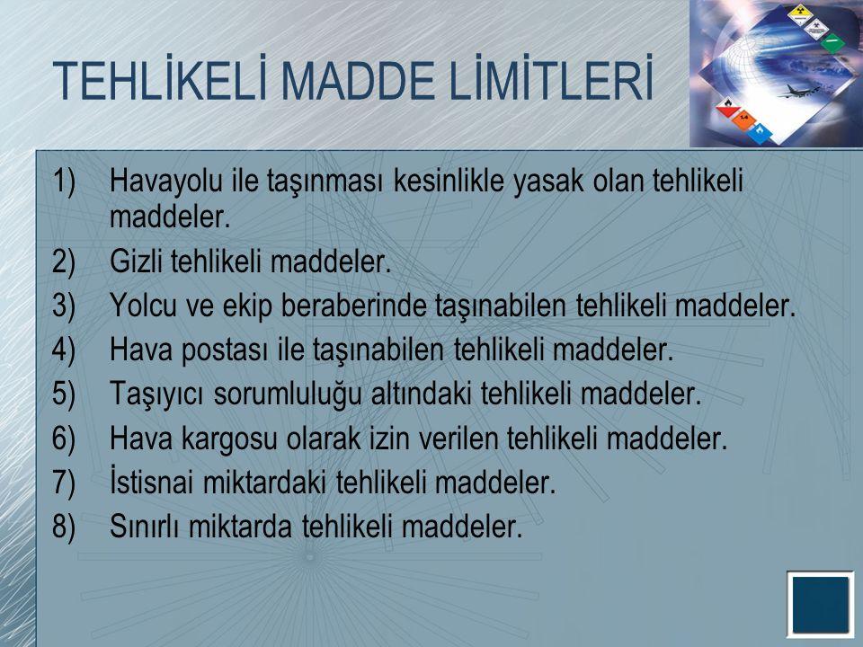TEHLİKELİ MADDE LİMİTLERİ