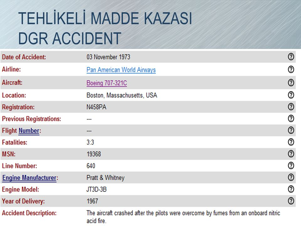 TEHLİKELİ MADDE KAZASI DGR ACCIDENT