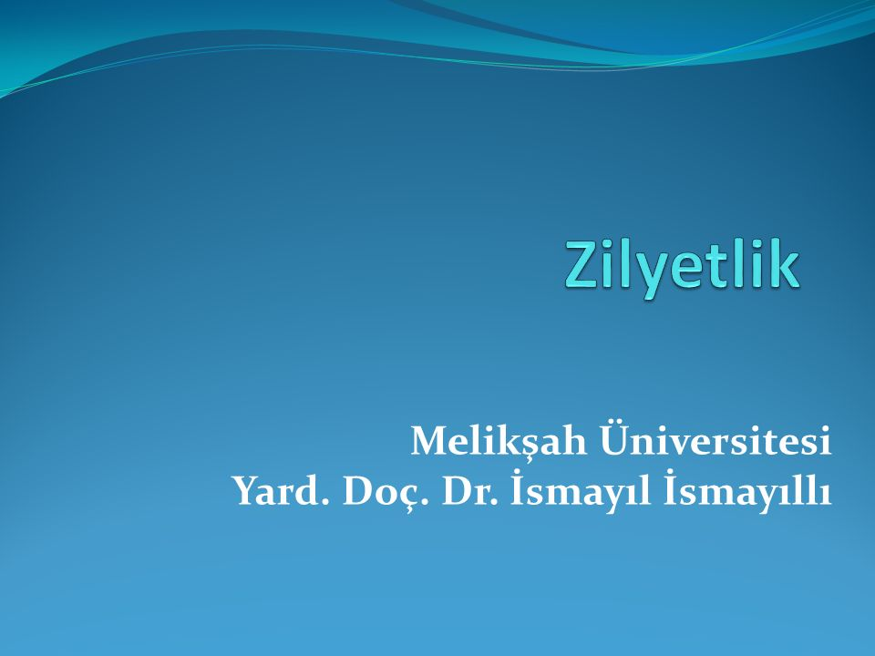 Melikşah Üniversitesi Yard. Doç. Dr. İsmayıl İsmayıllı