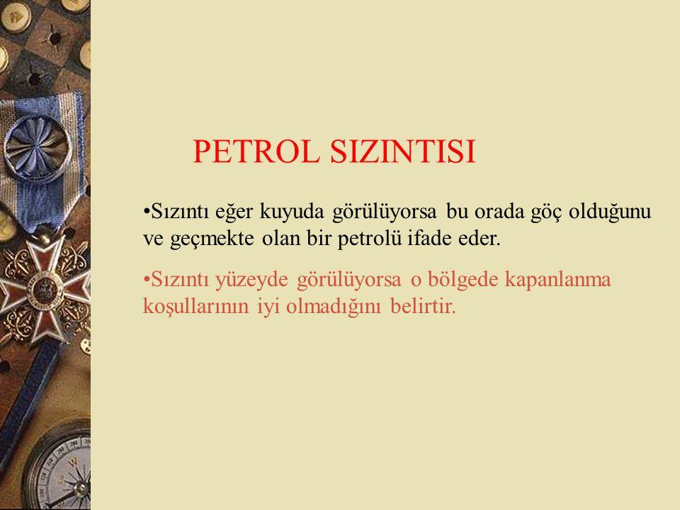 PETROL SIZINTISI Sızıntı eğer kuyuda görülüyorsa bu orada göç olduğunu ve geçmekte olan bir petrolü ifade eder.