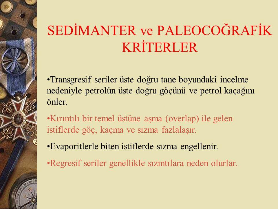 SEDİMANTER ve PALEOCOĞRAFİK KRİTERLER