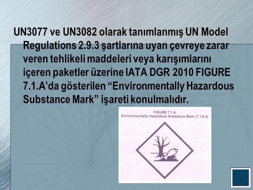UN3077 ve UN3082 olarak tanımlanmış UN Model Regulations 2. 9