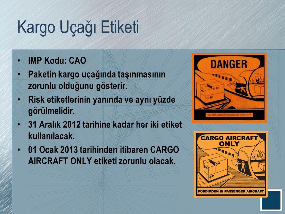 Kargo Uçağı Etiketi IMP Kodu: CAO