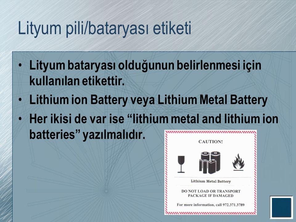 Lityum pili/bataryası etiketi