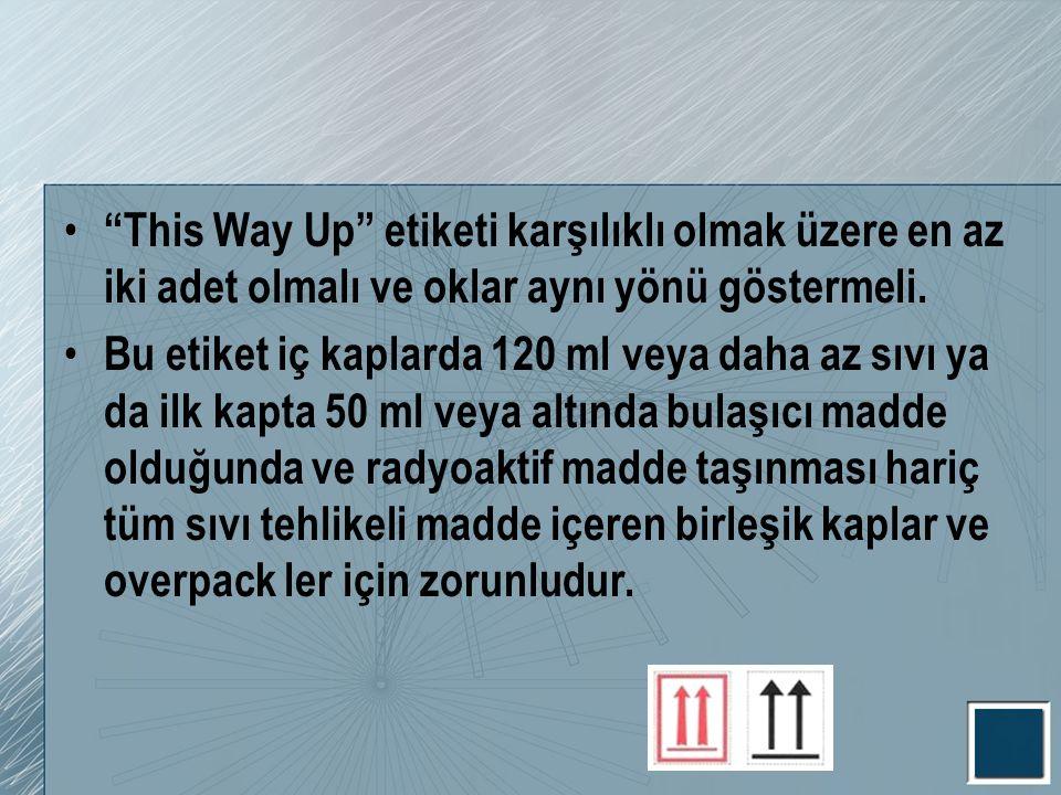 This Way Up etiketi karşılıklı olmak üzere en az iki adet olmalı ve oklar aynı yönü göstermeli.