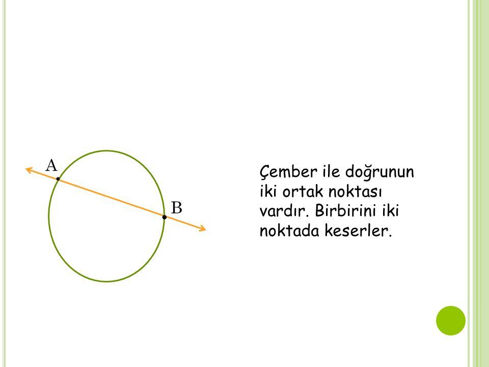 A ∙ Çember ile doğrunun iki ortak noktası vardır. Birbirini iki noktada keserler. ∙ B