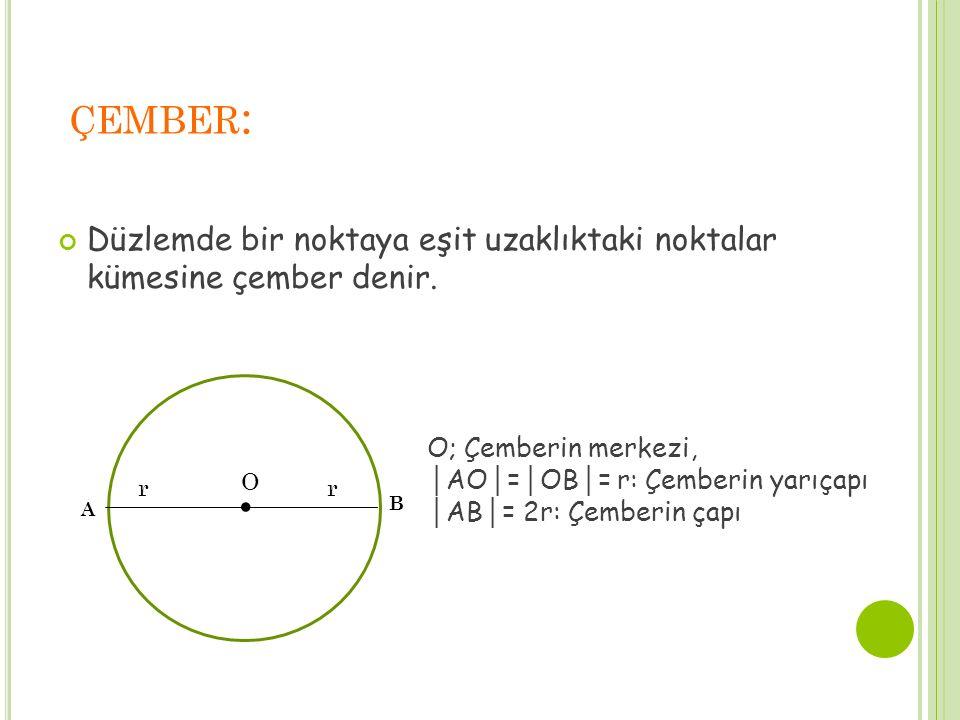 çember: Düzlemde bir noktaya eşit uzaklıktaki noktalar kümesine çember denir. . O. r. A. B. O; Çemberin merkezi,