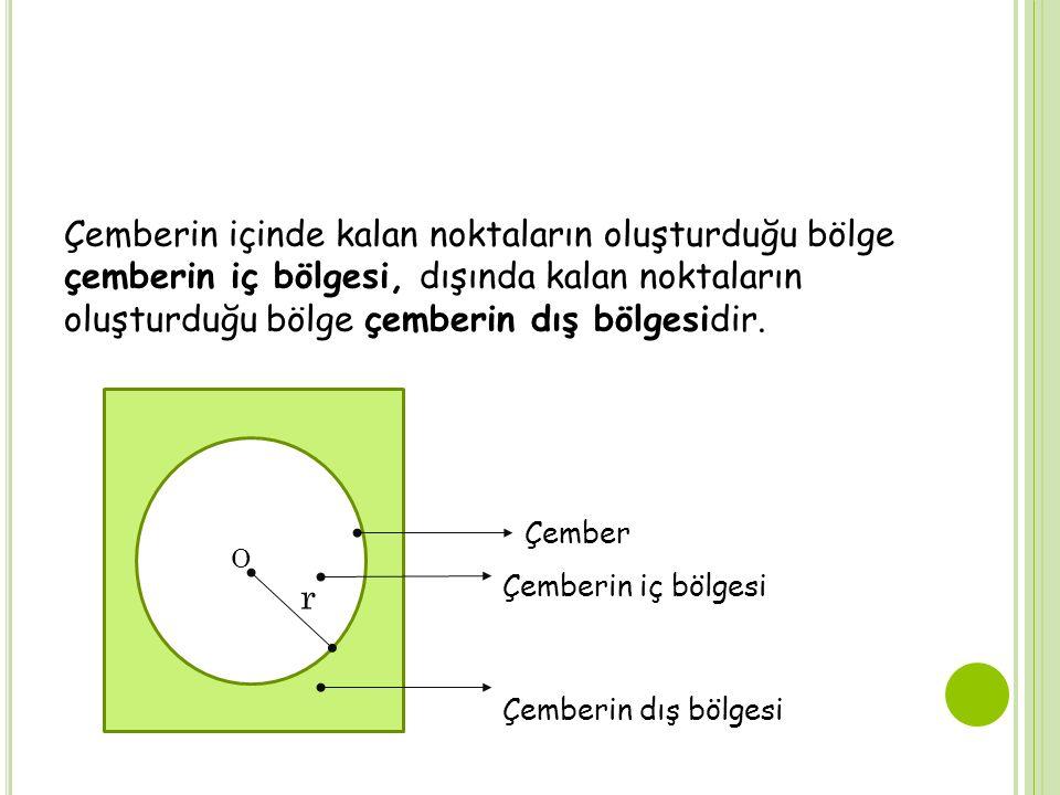 Çemberin içinde kalan noktaların oluşturduğu bölge çemberin iç bölgesi, dışında kalan noktaların oluşturduğu bölge çemberin dış bölgesidir.