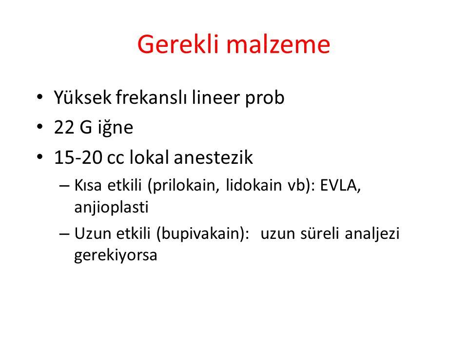 Gerekli malzeme Yüksek frekanslı lineer prob 22 G iğne
