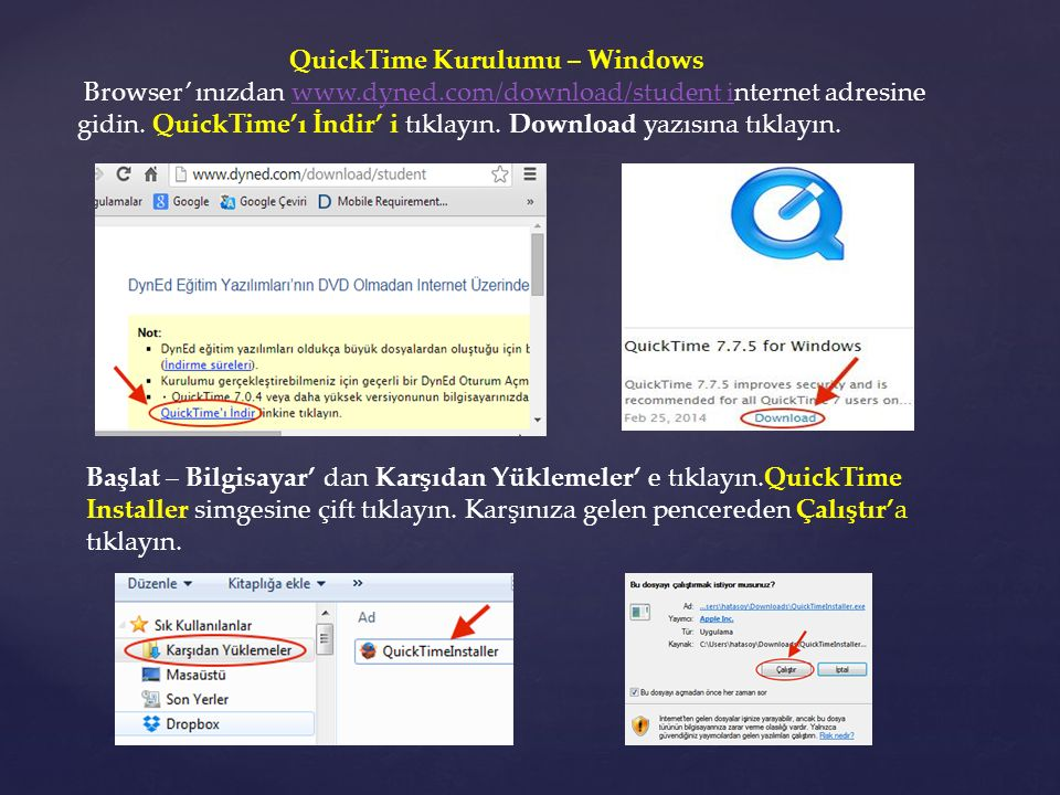 QuickTime Kurulumu – Windows