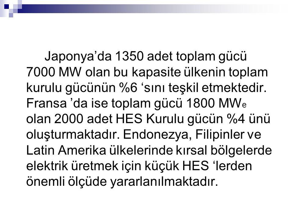 Japonya'da 1350 adet toplam gücü 7000 MW olan bu kapasite ülkenin toplam kurulu gücünün %6 'sını teşkil etmektedir.