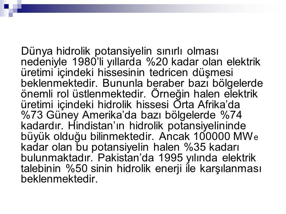 Dünya hidrolik potansiyelin sınırlı olması nedeniyle 1980'li yıllarda %20 kadar olan elektrik üretimi içindeki hissesinin tedricen düşmesi beklenmektedir.