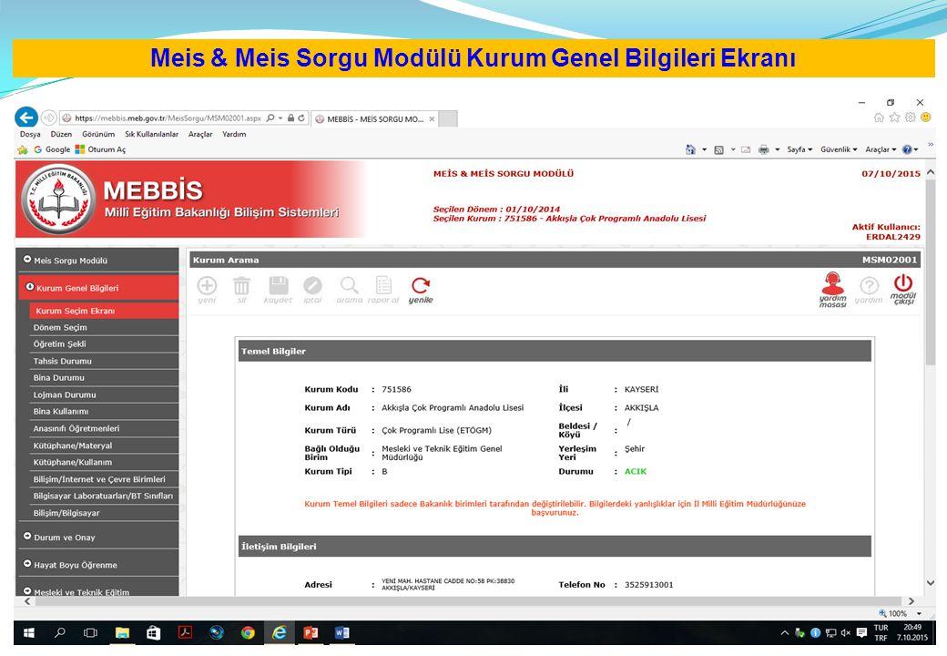 Meis & Meis Sorgu Modülü Kurum Genel Bilgileri Ekranı