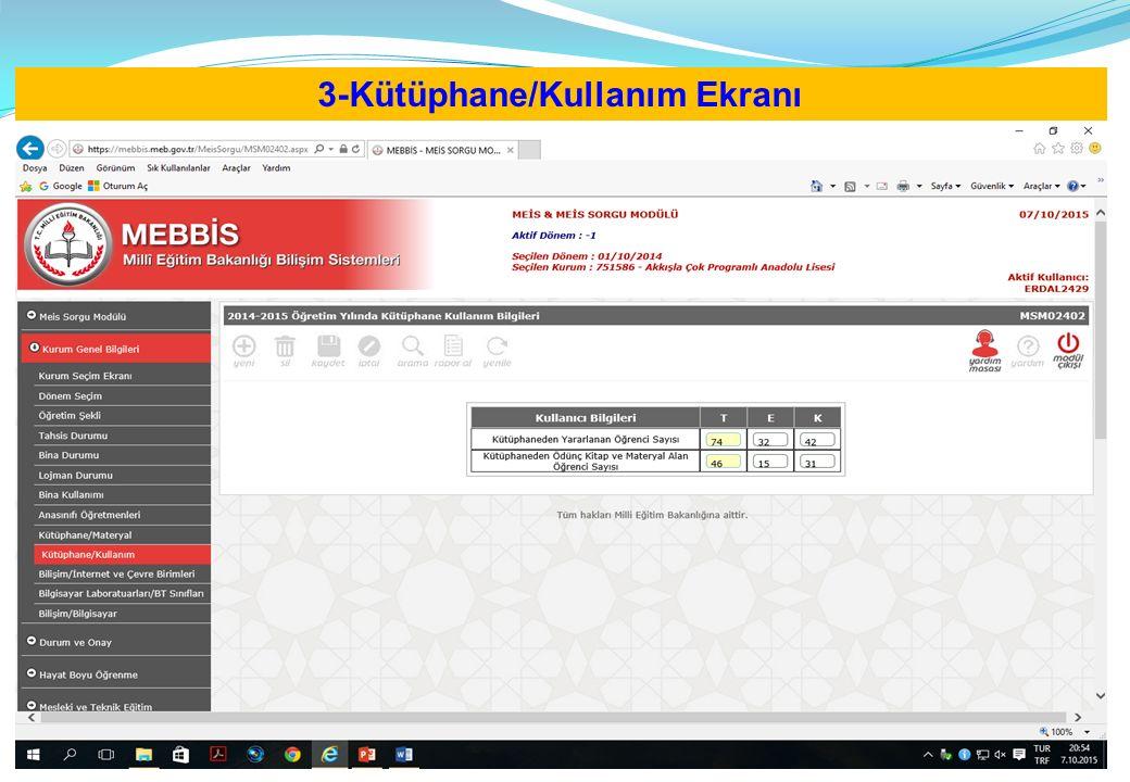 3-Kütüphane/Kullanım Ekranı