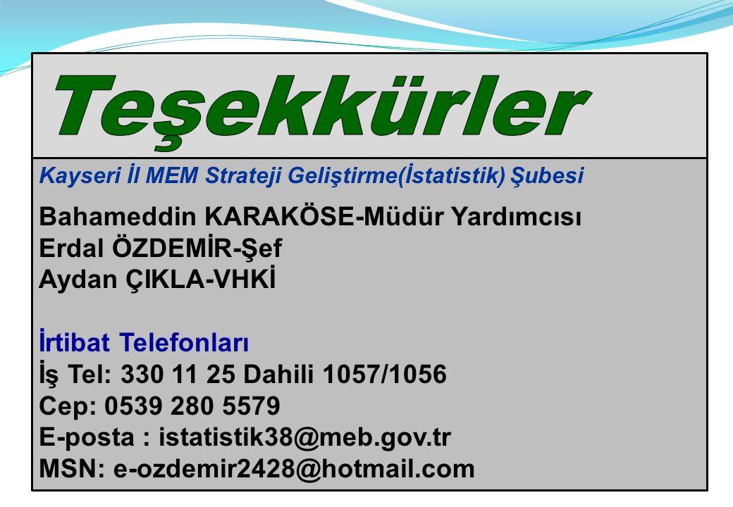 Teşekkürler Bahameddin KARAKÖSE-Müdür Yardımcısı Erdal ÖZDEMİR-Şef