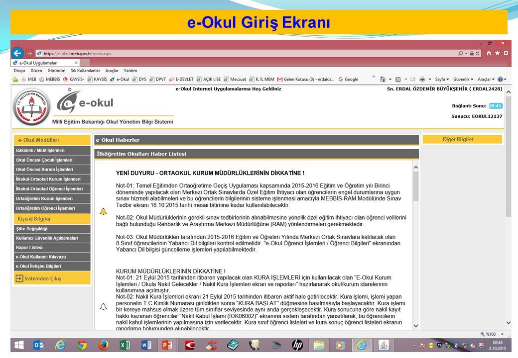 e-Okul Giriş Ekranı