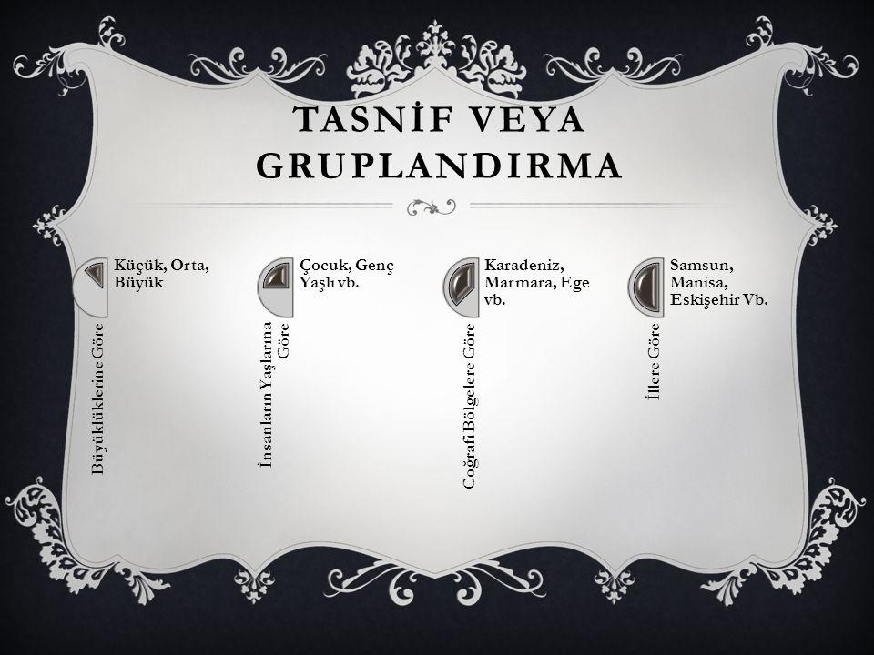 TASNİF VEYA GRUPLANDIRMA