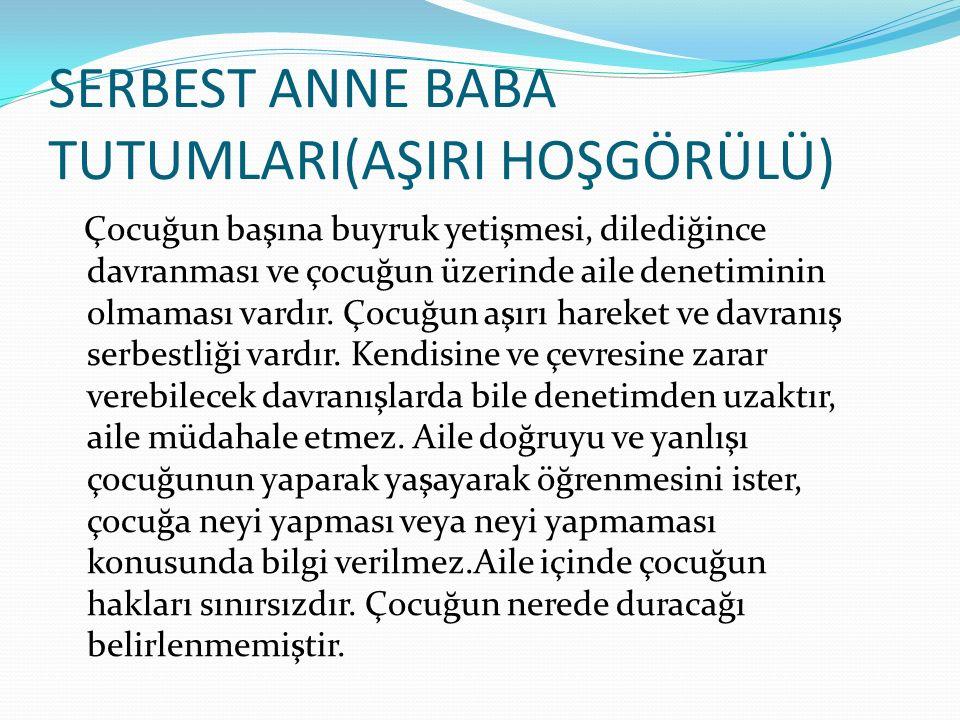 SERBEST ANNE BABA TUTUMLARI(AŞIRI HOŞGÖRÜLÜ)