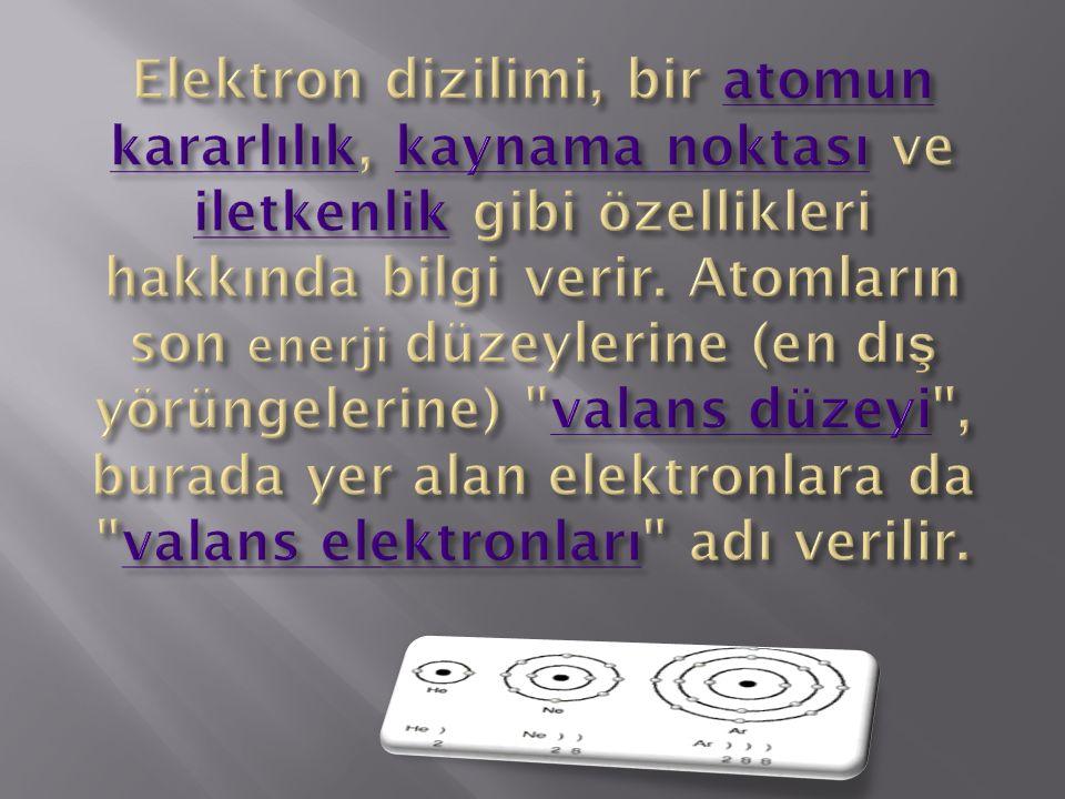 Elektron dizilimi, bir atomun kararlılık, kaynama noktası ve iletkenlik gibi özellikleri hakkında bilgi verir.