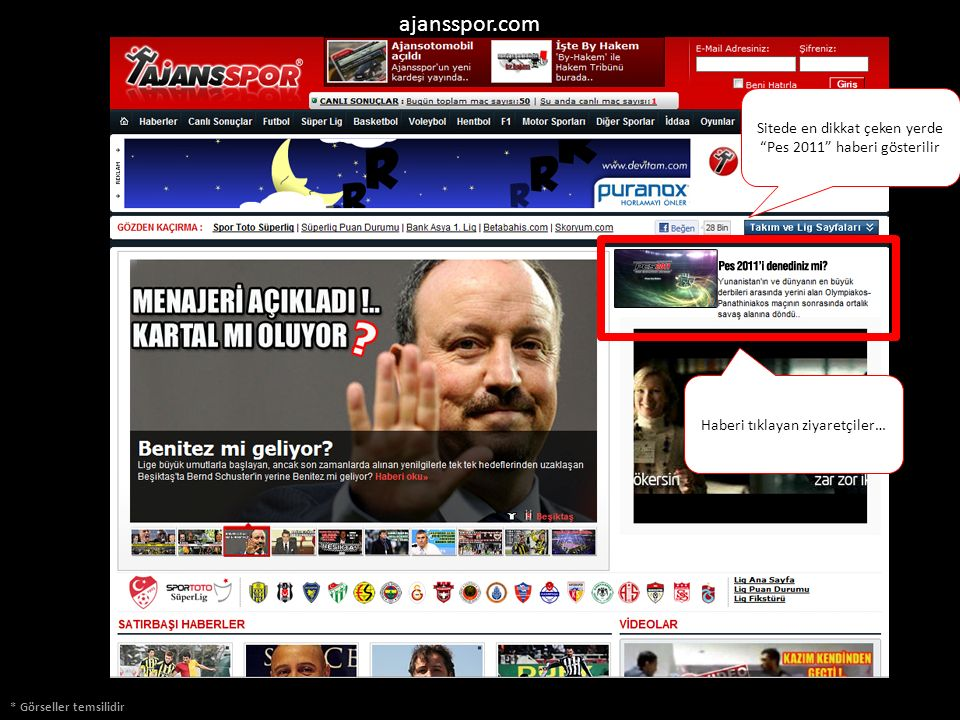 ajansspor.com Sitede en dikkat çeken yerde Pes 2011 haberi gösterilir. Haberi tıklayan ziyaretçiler…