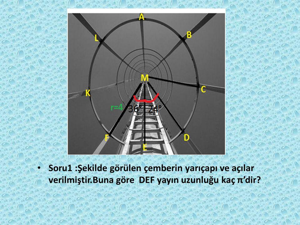 Soru1 :Şekilde görülen çemberin yarıçapı ve açılar verilmiştir.Buna göre DEF yayın uzunluğu kaç π'dir