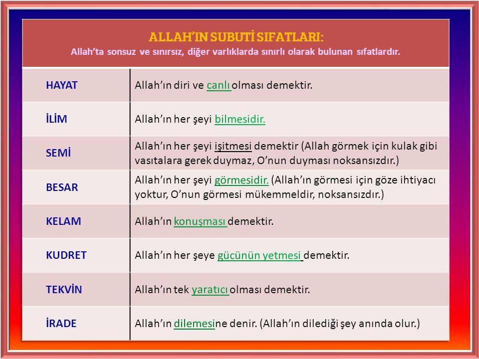 ALLAH'IN SUBUTİ SIFATLARI: