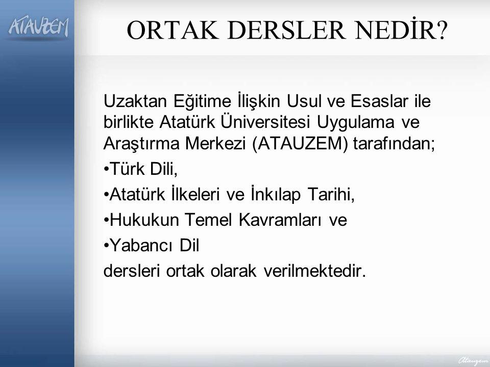 ORTAK DERSLER NEDİR Uzaktan Eğitime İlişkin Usul ve Esaslar ile birlikte Atatürk Üniversitesi Uygulama ve Araştırma Merkezi (ATAUZEM) tarafından;