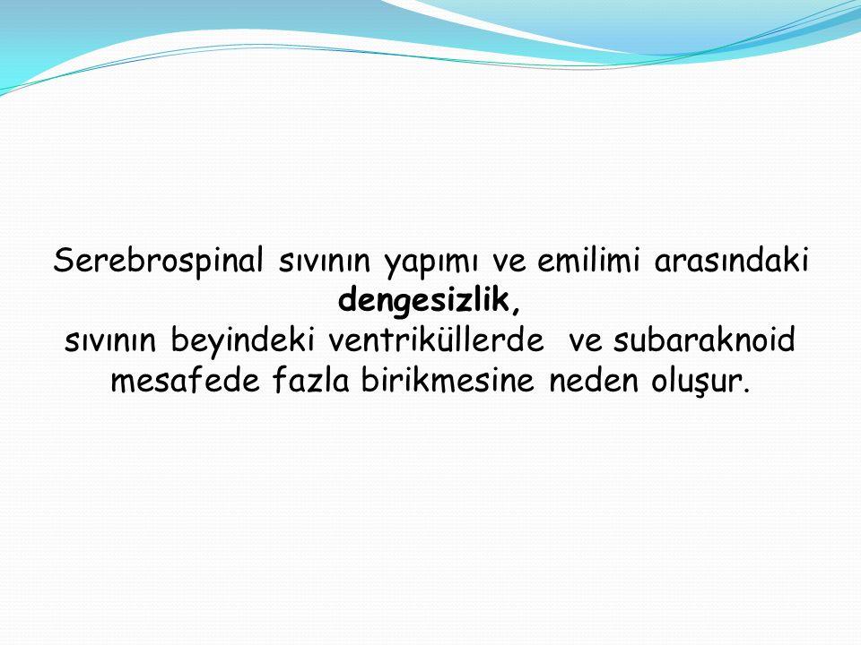 Serebrospinal sıvının yapımı ve emilimi arasındaki dengesizlik,