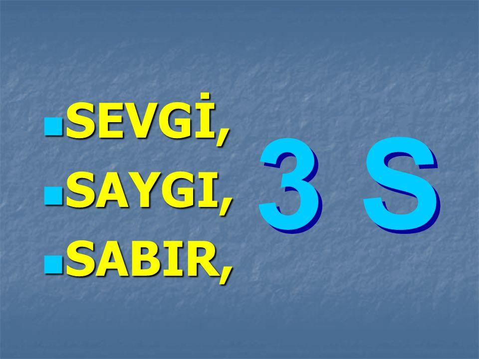 SEVGİ, SAYGI, SABIR, 3 S