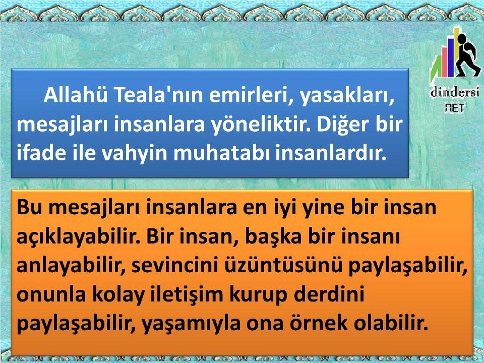 Allahü Teala nın emirleri, yasakları, mesajları insanlara yöneliktir