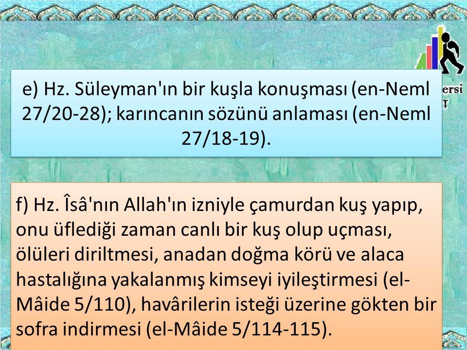 e) Hz. Süleyman ın bir kuşla konuşması (en-Neml 27/20-28); karıncanın sözünü anlaması (en-Neml 27/18-19).