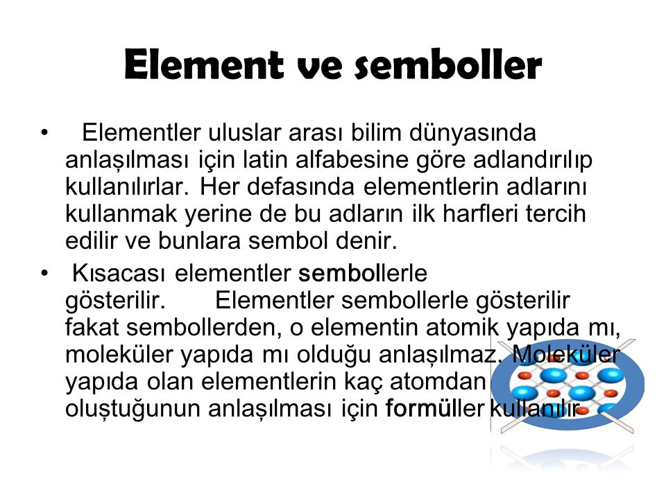 Element ve semboller