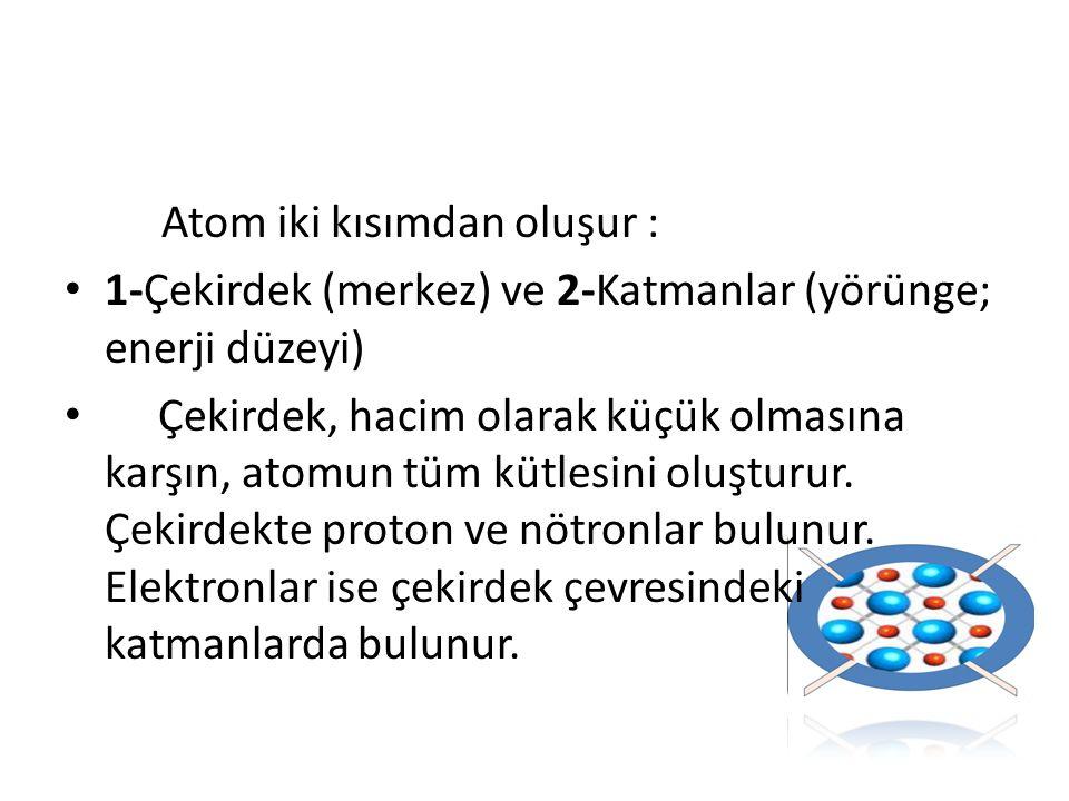 Atom iki kısımdan oluşur :